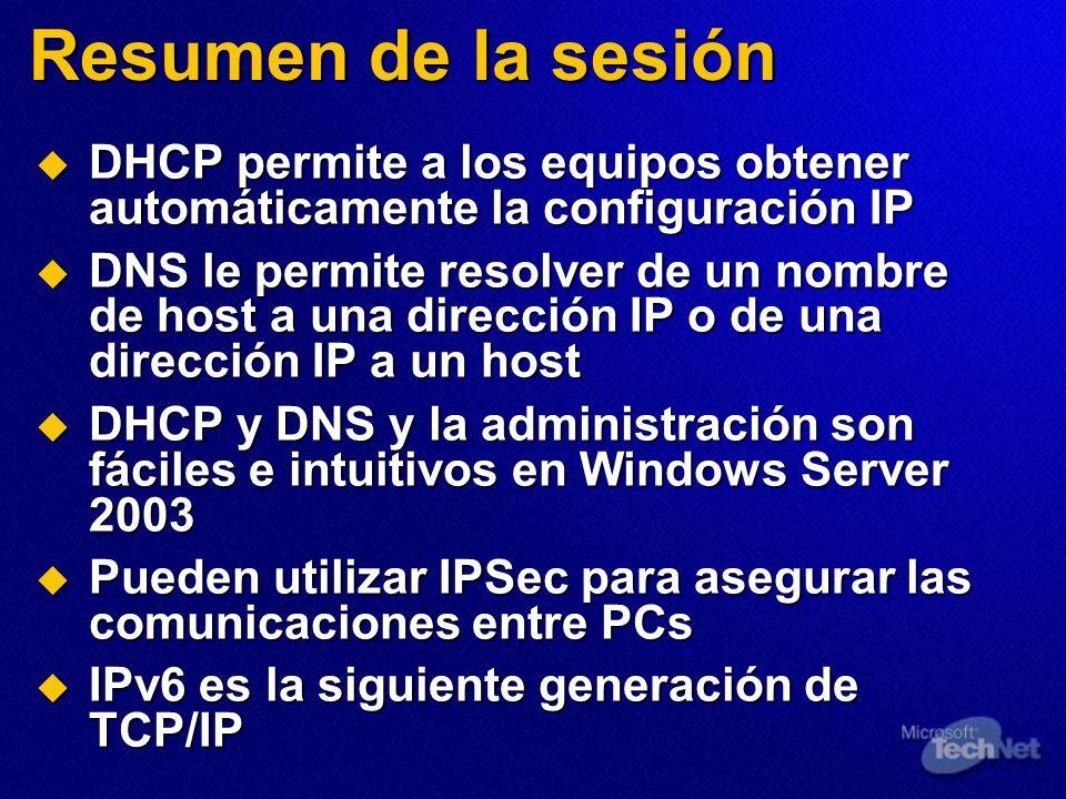 Resumen de la sesiónDHCP permite a los equipos obtener automáticamente la configuración IP.