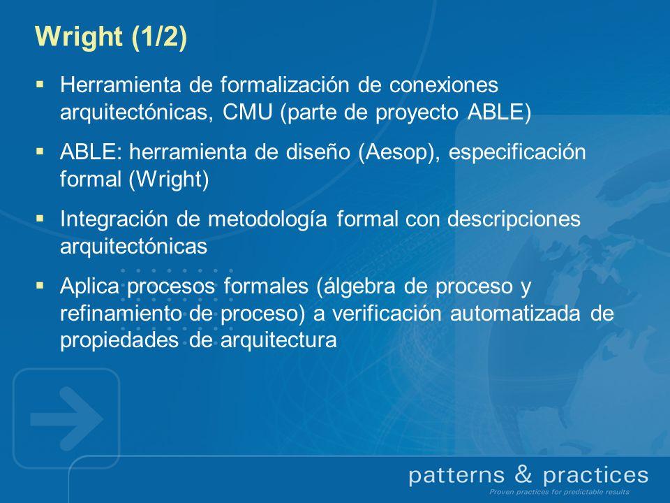 Wright (1/2) Herramienta de formalización de conexiones arquitectónicas, CMU (parte de proyecto ABLE)