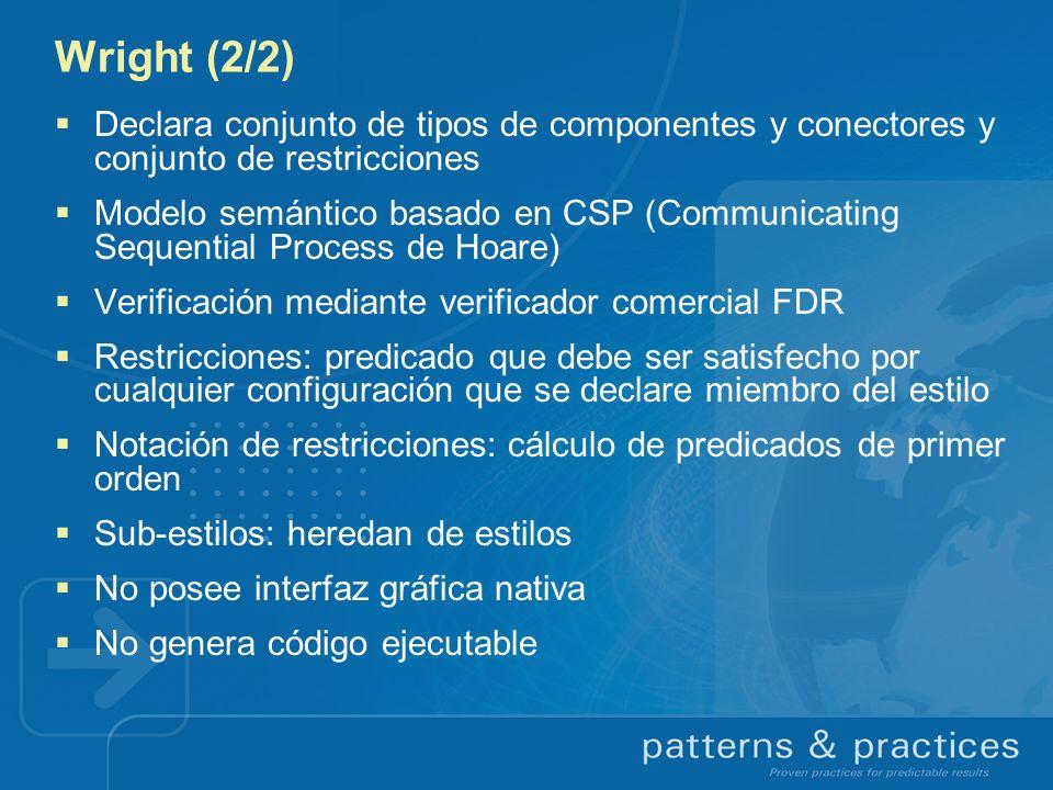 Wright (2/2) Declara conjunto de tipos de componentes y conectores y conjunto de restricciones.