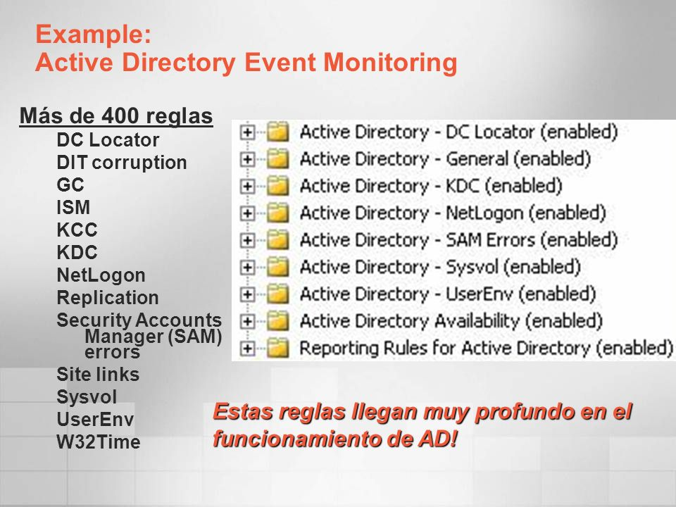 Example: Active Directory Event Monitoring