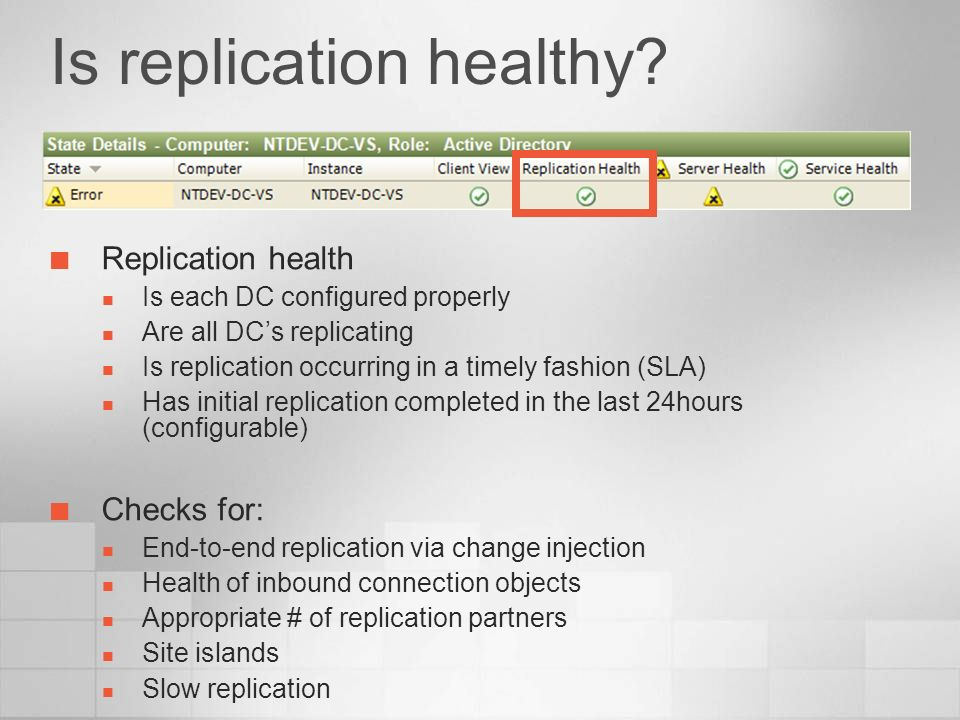 Is replication healthy