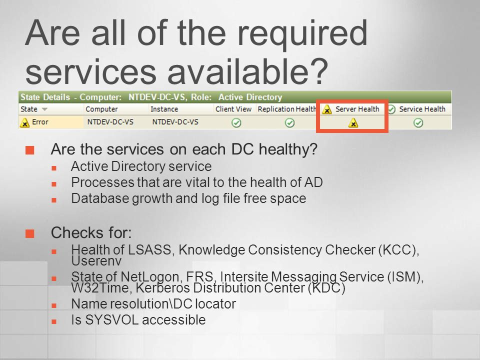 Are all of the required services available