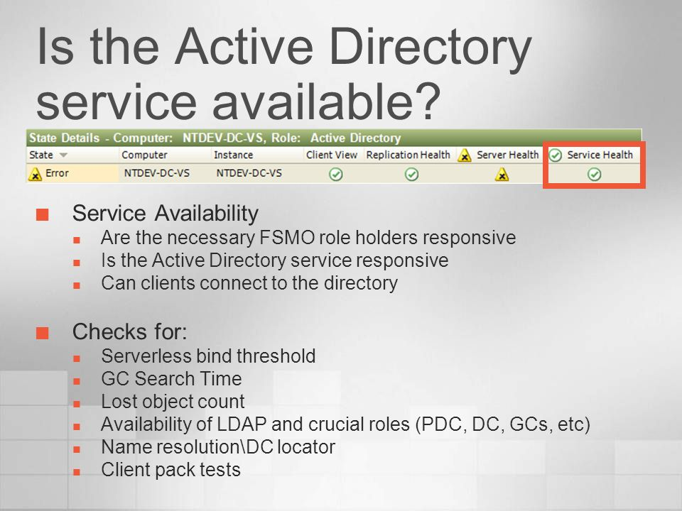 Is the Active Directory service available