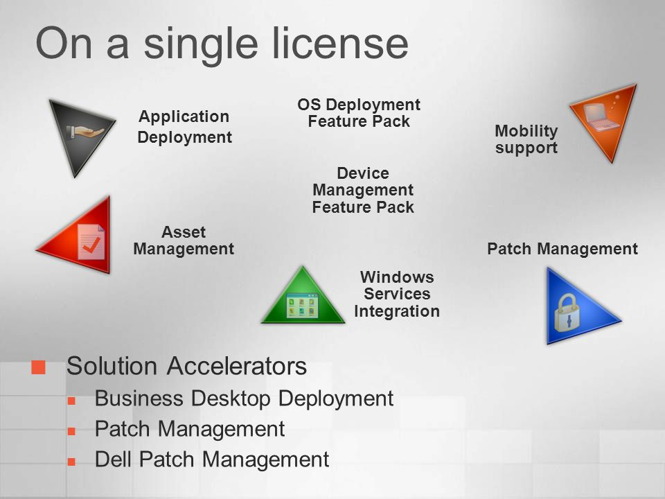 On a single license Solution Accelerators Business Desktop Deployment