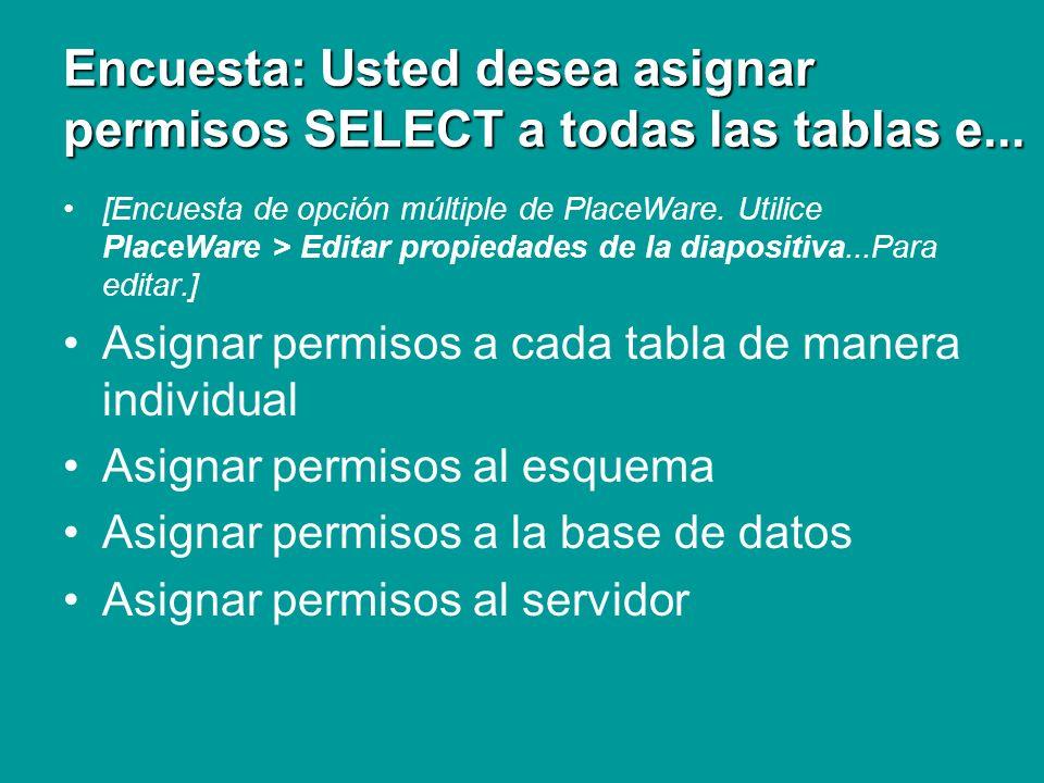 Encuesta: Usted desea asignar permisos SELECT a todas las tablas e...