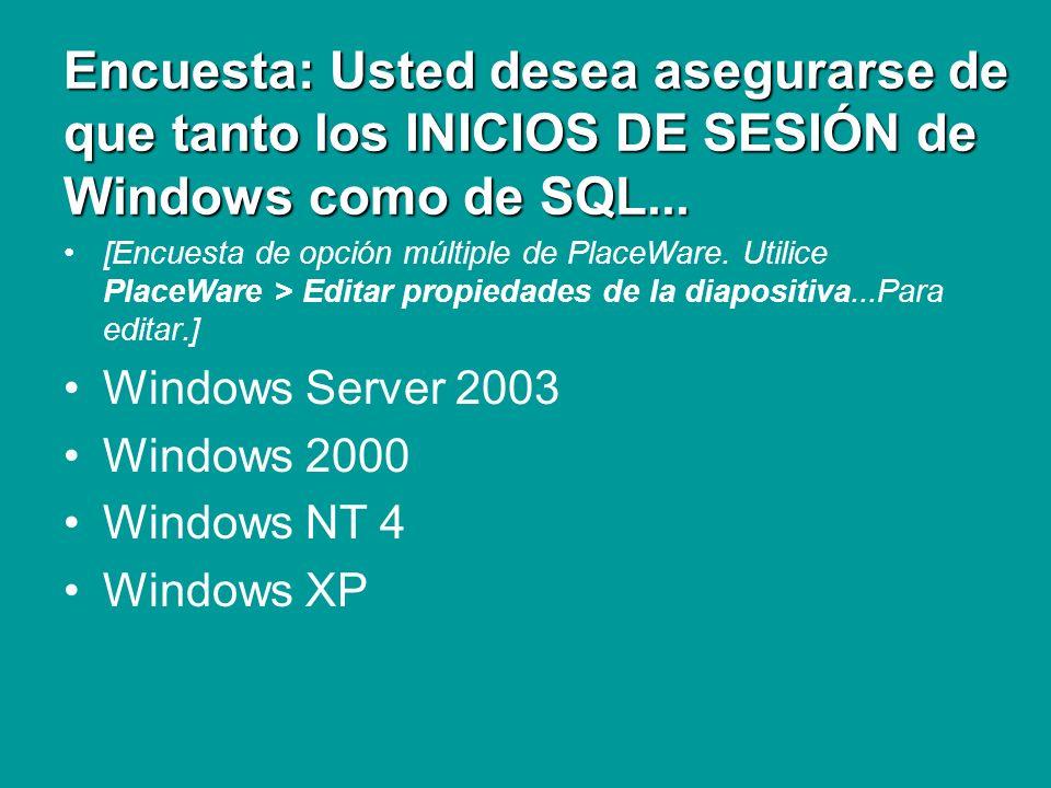 Encuesta: Usted desea asegurarse de que tanto los INICIOS DE SESIÓN de Windows como de SQL...