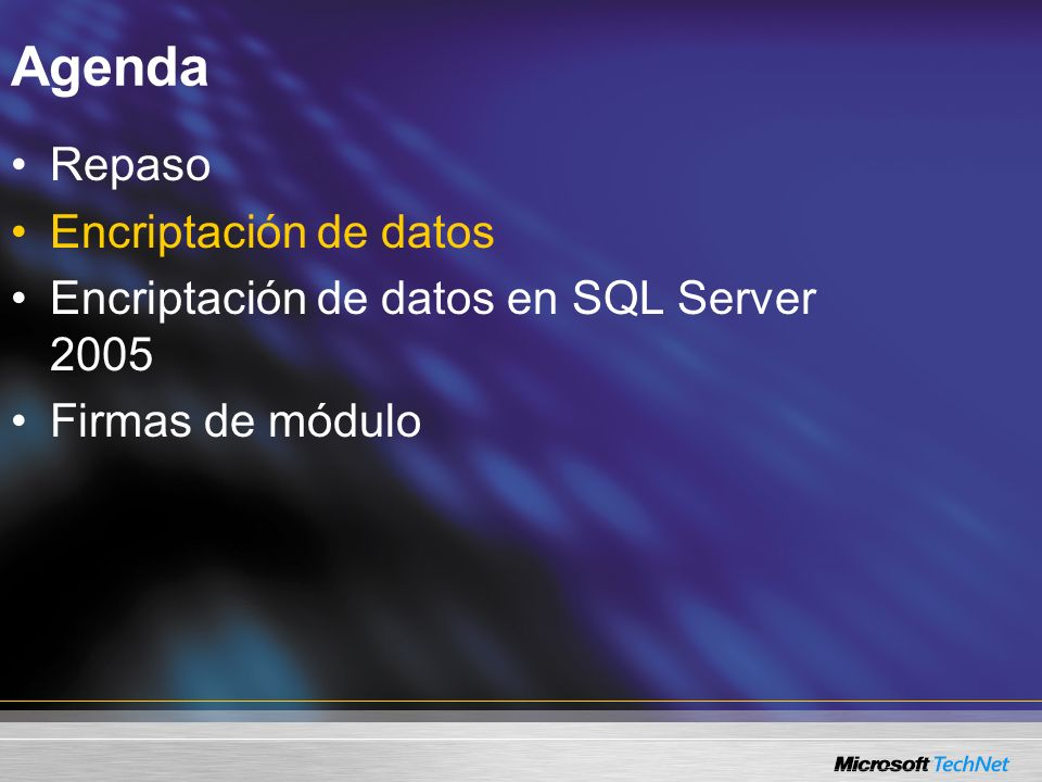 Agenda Repaso Encriptación de datos