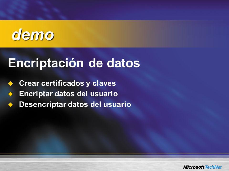 demo Encriptación de datos Crear certificados y claves