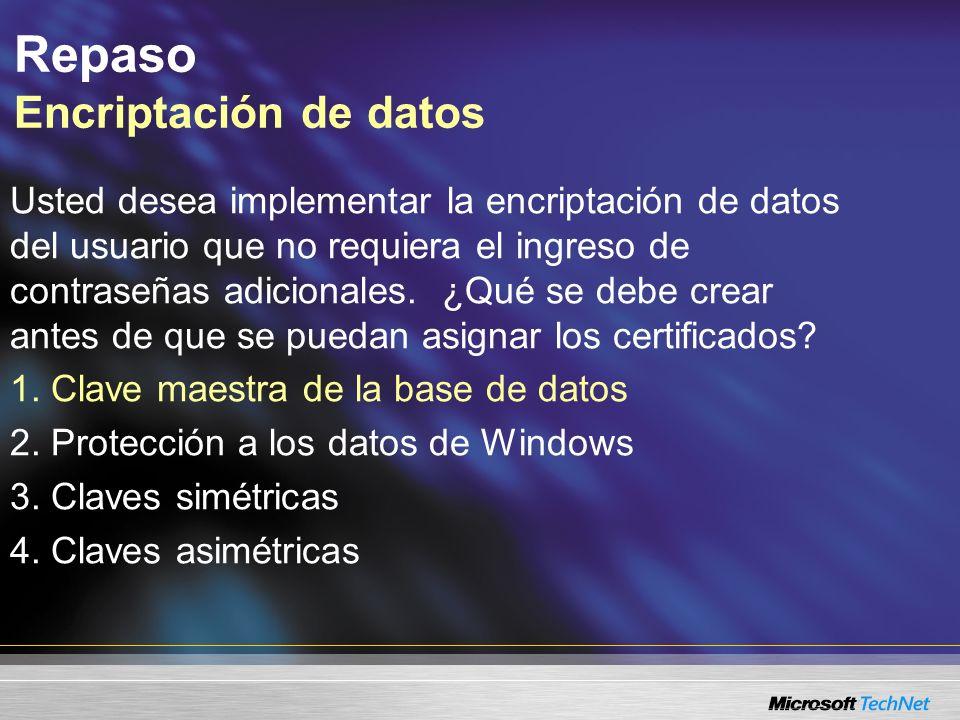 Repaso Encriptación de datos
