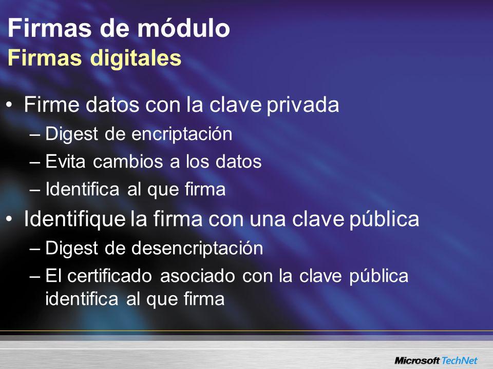 Firmas de módulo Firmas digitales