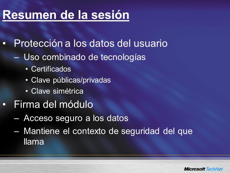 Resumen de la sesión Protección a los datos del usuario