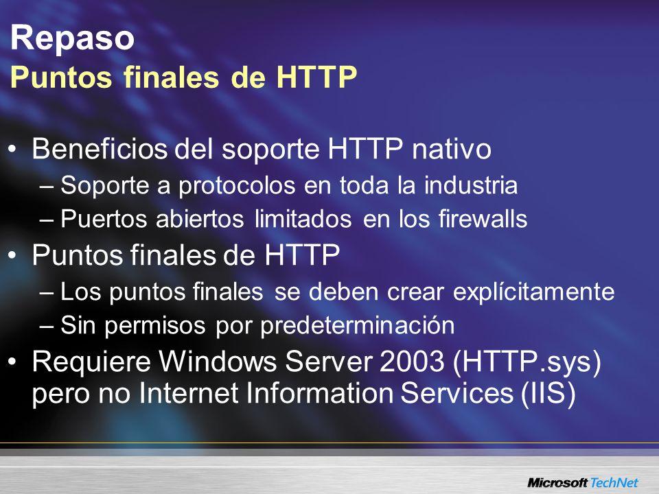 Repaso Puntos finales de HTTP