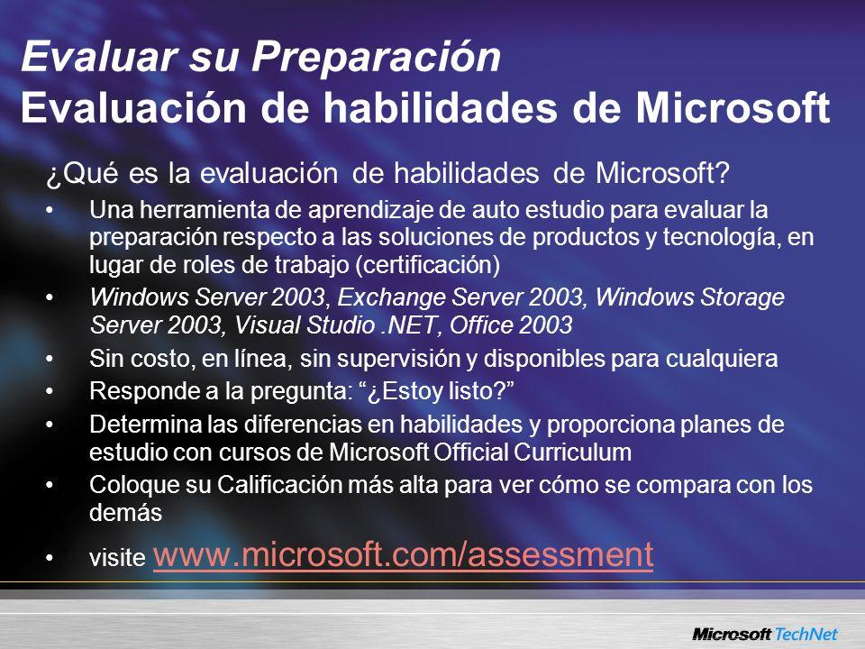 Evaluar su Preparación Evaluación de habilidades de Microsoft