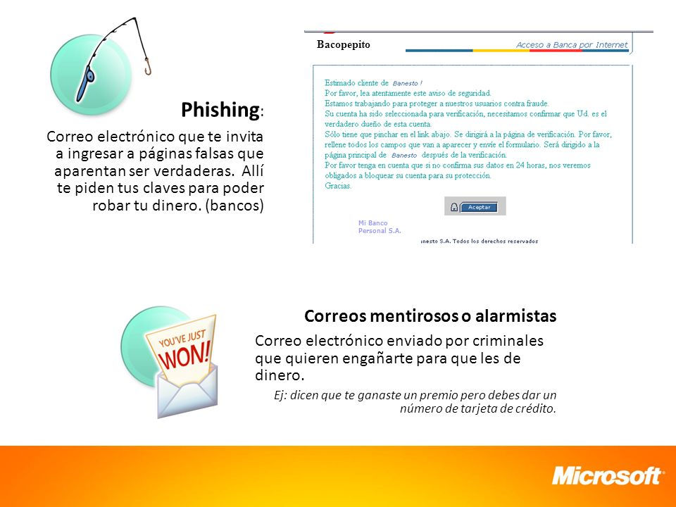 Mi Banco Personal S.A. Bacopepito. Phishing: