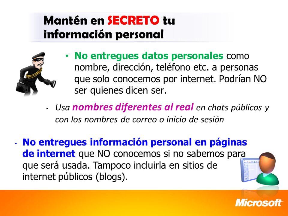 Mantén en SECRETO tu información personal