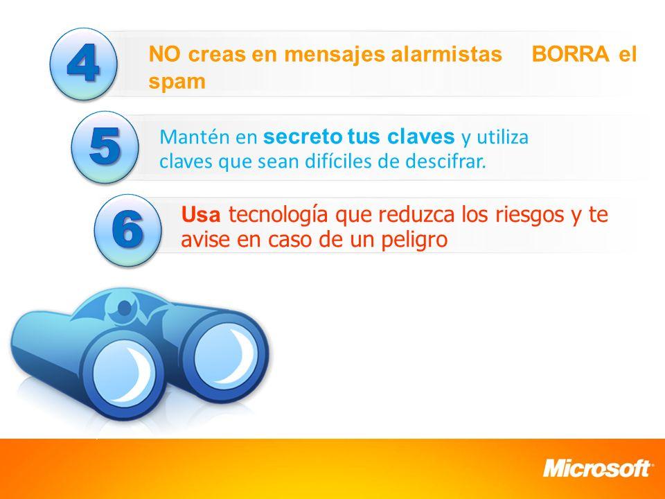 4 5 6 NO creas en mensajes alarmistas BORRA el spam