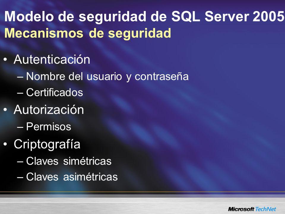 Modelo de seguridad de SQL Server 2005 Mecanismos de seguridad