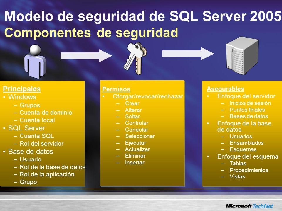 Modelo de seguridad de SQL Server 2005 Componentes de seguridad