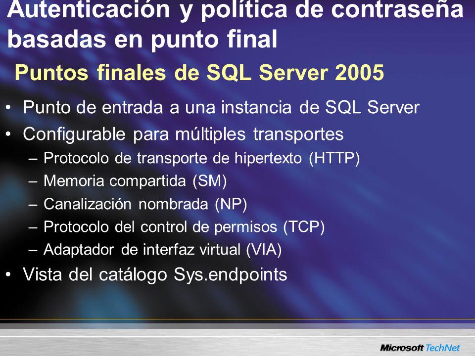 Autenticación y política de contraseña basadas en punto final Puntos finales de SQL Server 2005