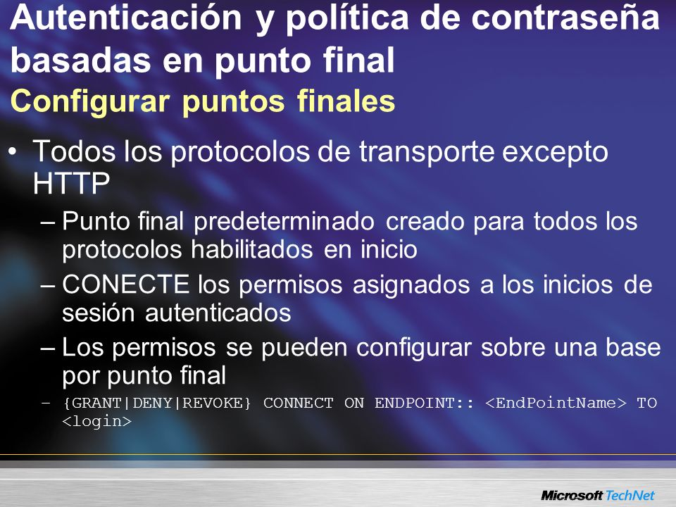 Autenticación y política de contraseña basadas en punto final Configurar puntos finales