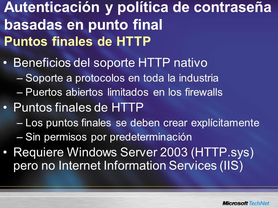 Autenticación y política de contraseña basadas en punto final Puntos finales de HTTP