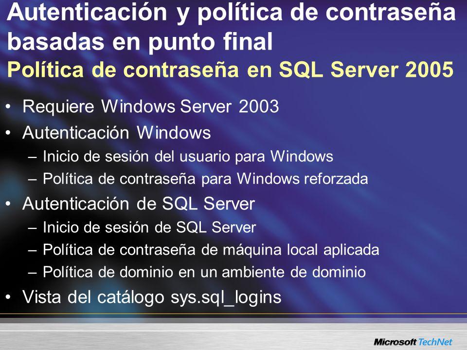 Autenticación y política de contraseña basadas en punto final Política de contraseña en SQL Server 2005