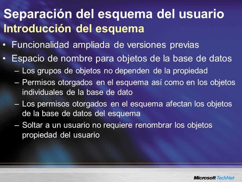 Separación del esquema del usuario Introducción del esquema