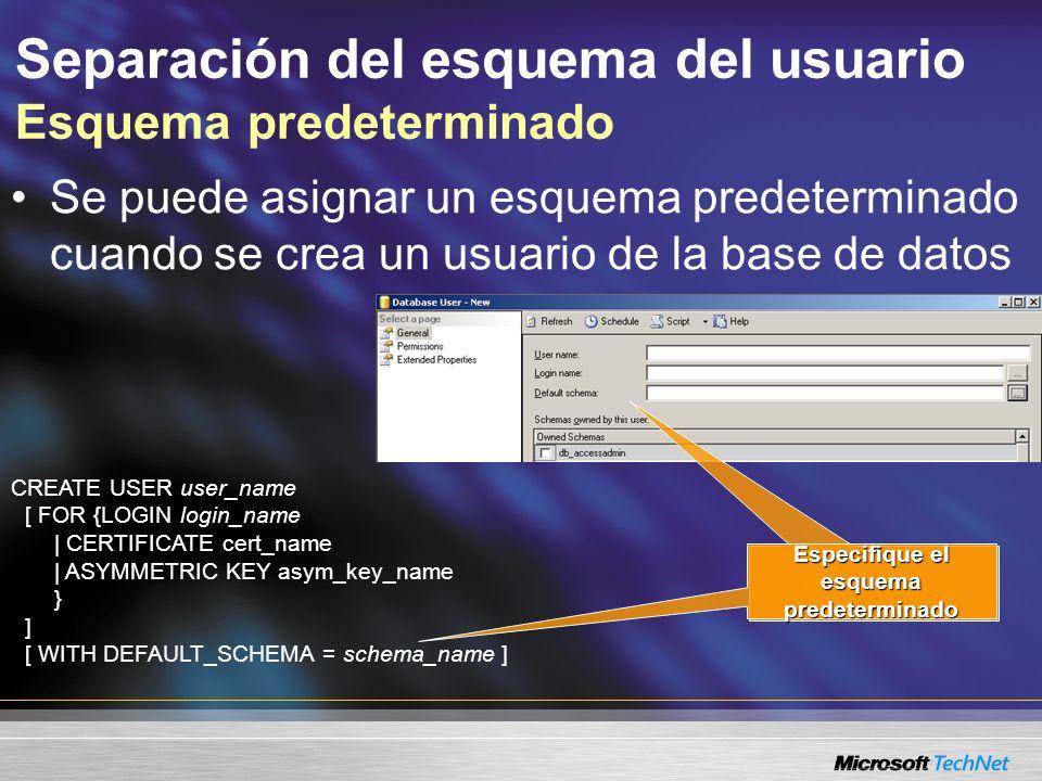 Separación del esquema del usuario Esquema predeterminado