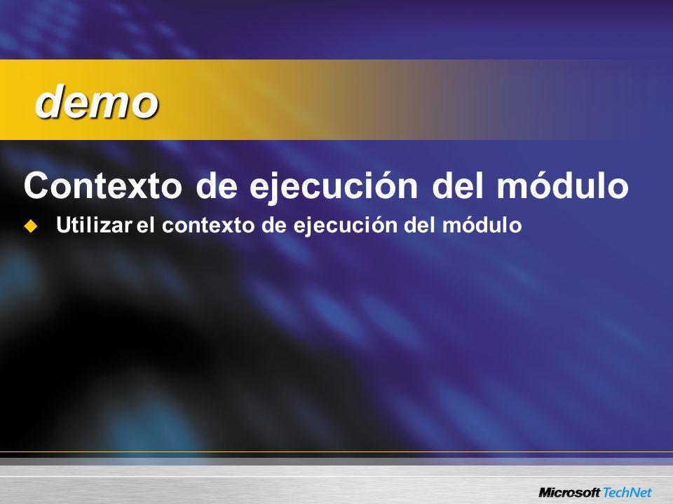 demo Contexto de ejecución del módulo