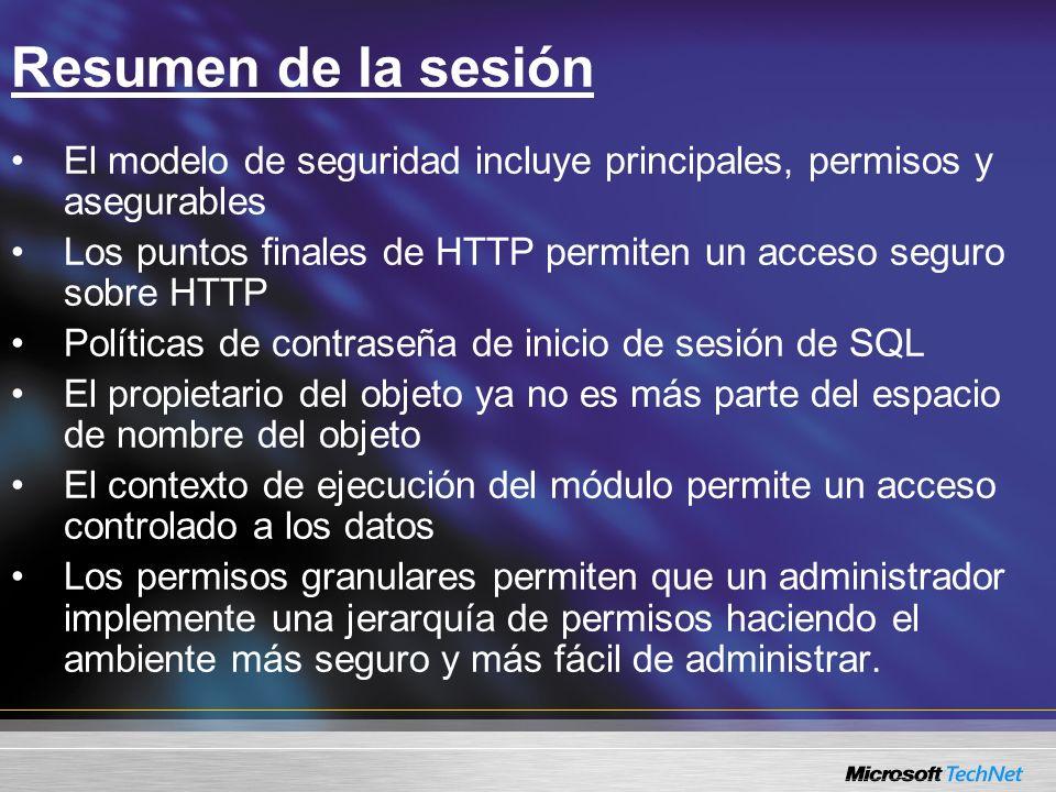 Resumen de la sesión El modelo de seguridad incluye principales, permisos y asegurables.