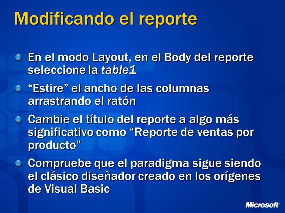 Modificando el reporte