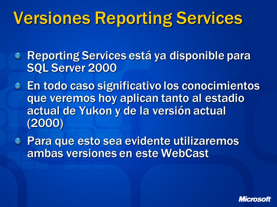 Versiones Reporting Services