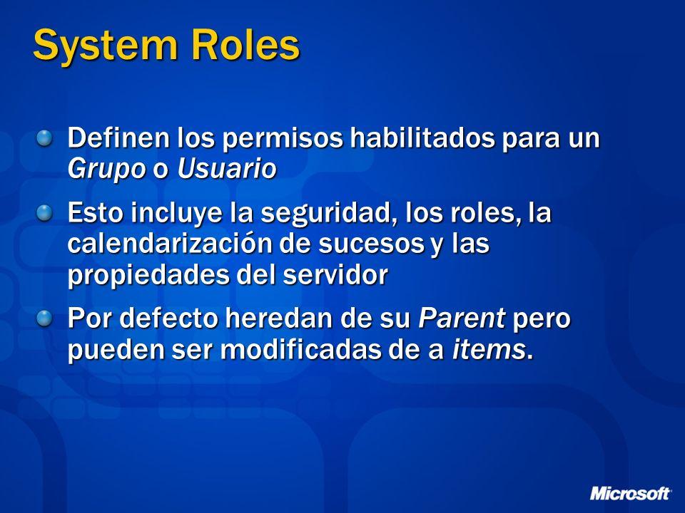 System Roles Definen los permisos habilitados para un Grupo o Usuario