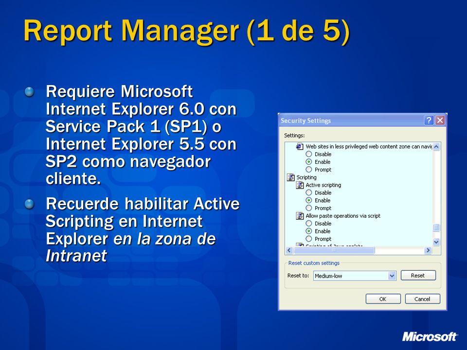 Report Manager (1 de 5)Requiere Microsoft Internet Explorer 6.0 con Service Pack 1 (SP1) o Internet Explorer 5.5 con SP2 como navegador cliente.