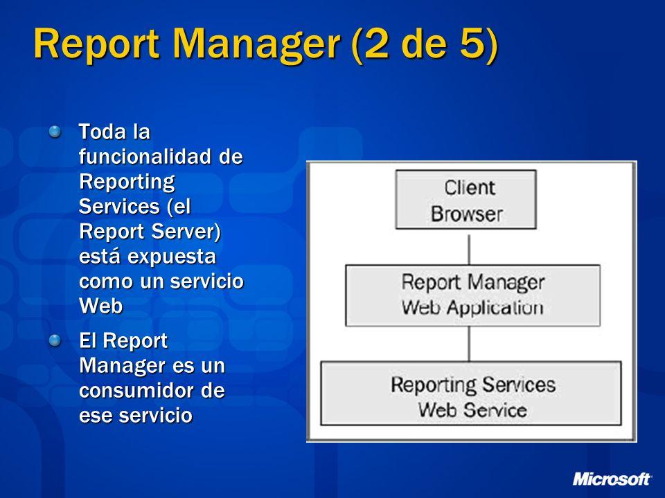 Report Manager (2 de 5) Toda la funcionalidad de Reporting Services (el Report Server) está expuesta como un servicio Web.