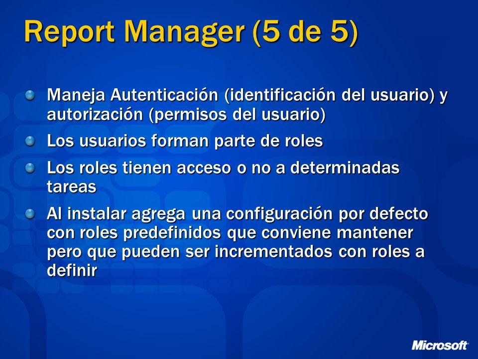 Report Manager (5 de 5) Maneja Autenticación (identificación del usuario) y autorización (permisos del usuario)