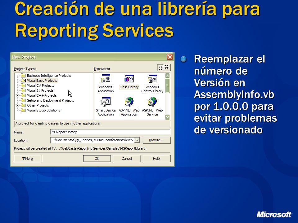 Creación de una librería para Reporting Services