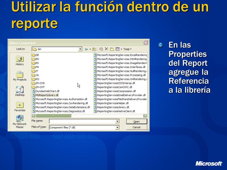 Utilizar la función dentro de un reporte
