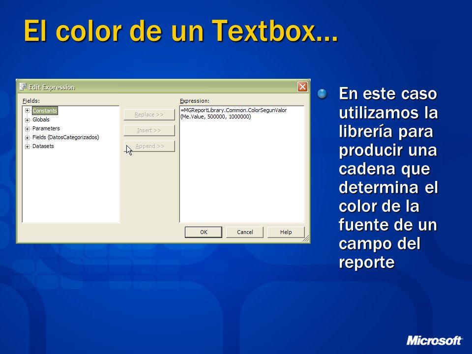 El color de un Textbox… En este caso utilizamos la librería para producir una cadena que determina el color de la fuente de un campo del reporte.