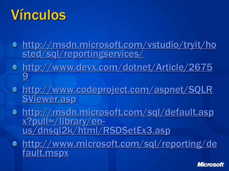 Vínculoshttp://msdn.microsoft.com/vstudio/tryit/hosted/sql/reportingservices/ http://www.devx.com/dotnet/Article/26759.