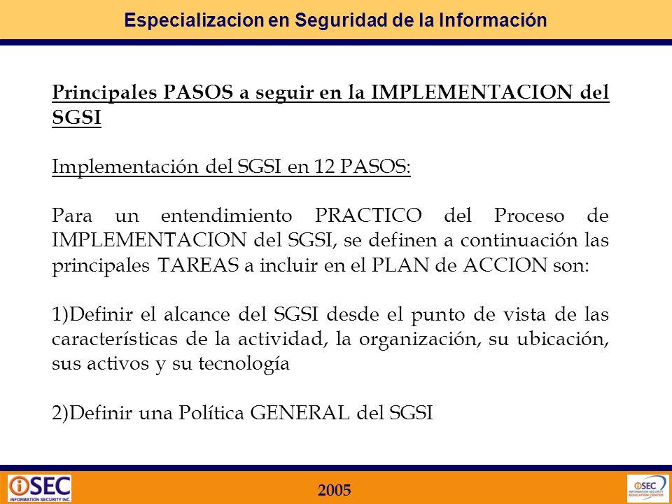 Principales PASOS a seguir en la IMPLEMENTACION del SGSI