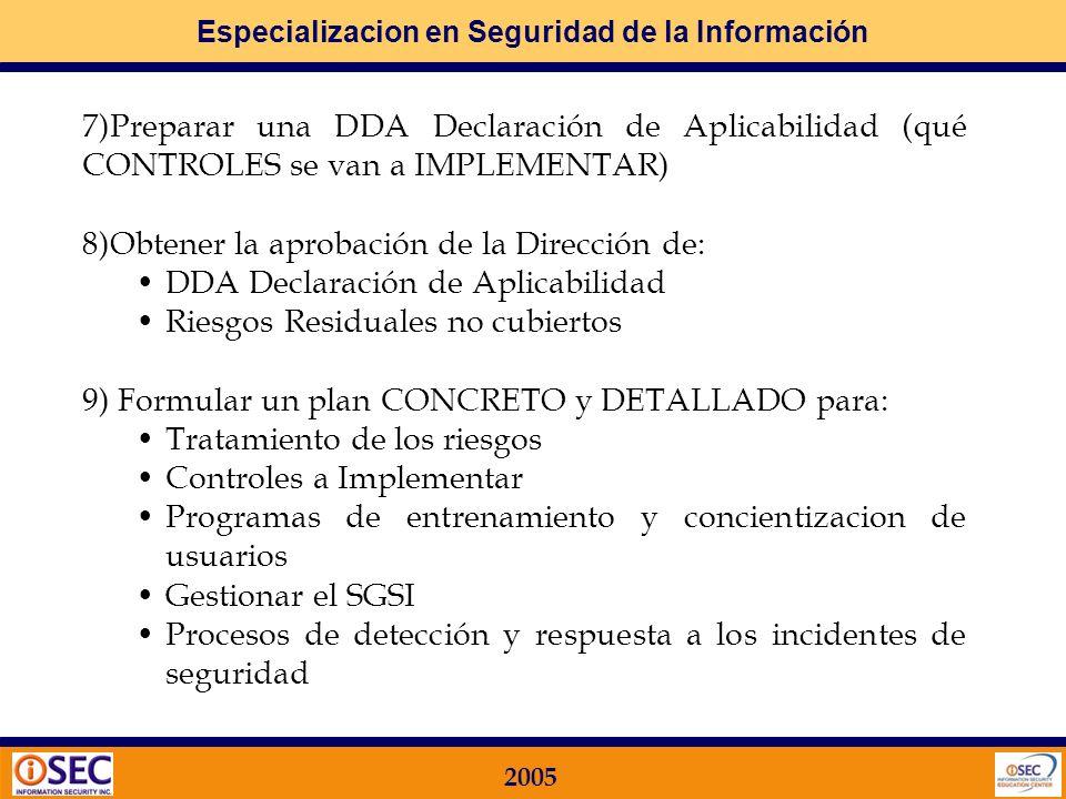 7)Preparar una DDA Declaración de Aplicabilidad (qué CONTROLES se van a IMPLEMENTAR)