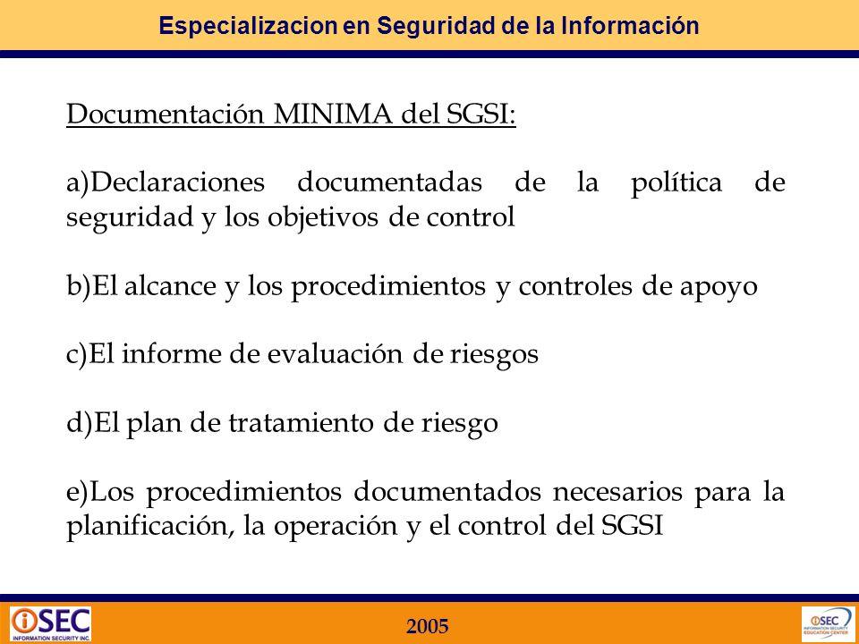 Documentación MINIMA del SGSI: