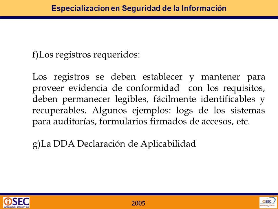 f)Los registros requeridos: