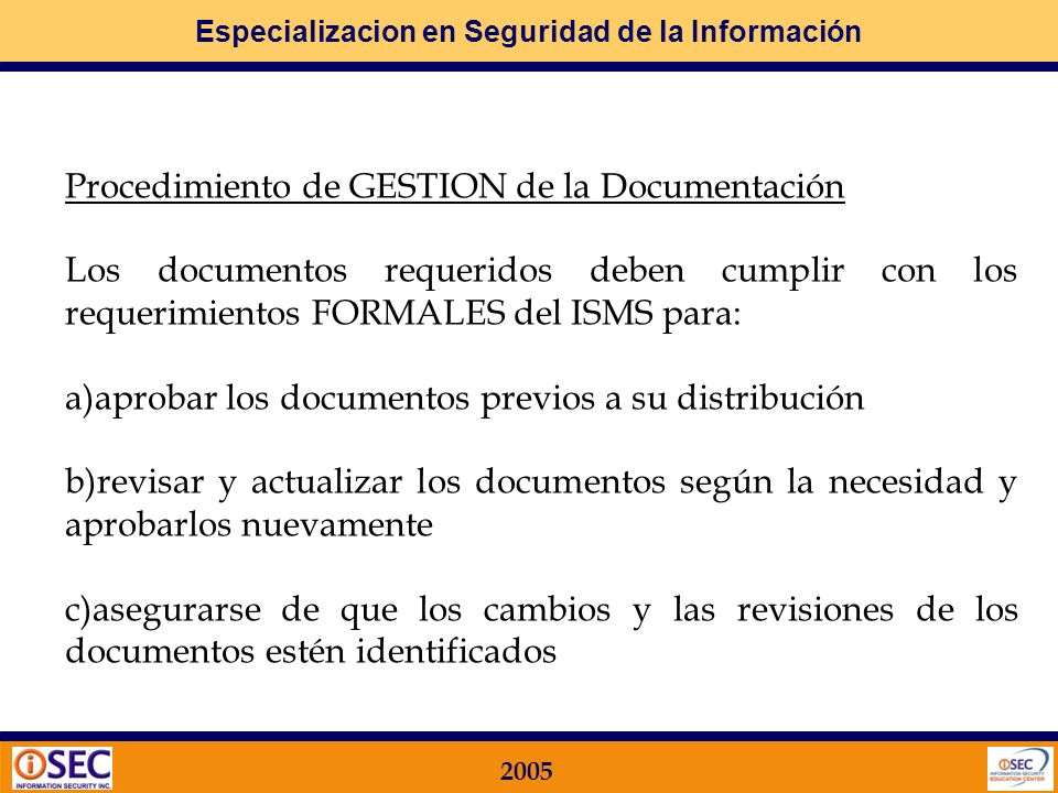 Procedimiento de GESTION de la Documentación