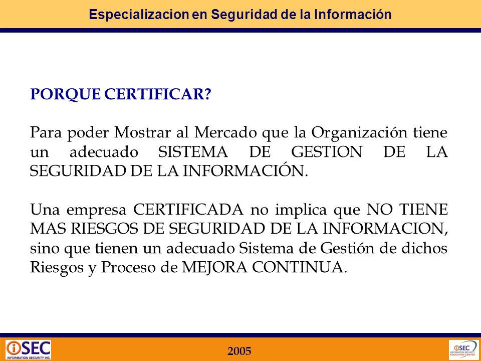 PORQUE CERTIFICAR Para poder Mostrar al Mercado que la Organización tiene un adecuado SISTEMA DE GESTION DE LA SEGURIDAD DE LA INFORMACIÓN.