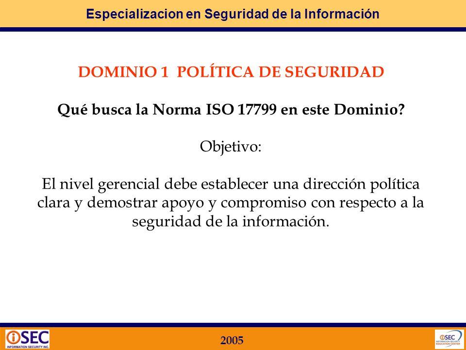 DOMINIO 1 POLÍTICA DE SEGURIDAD