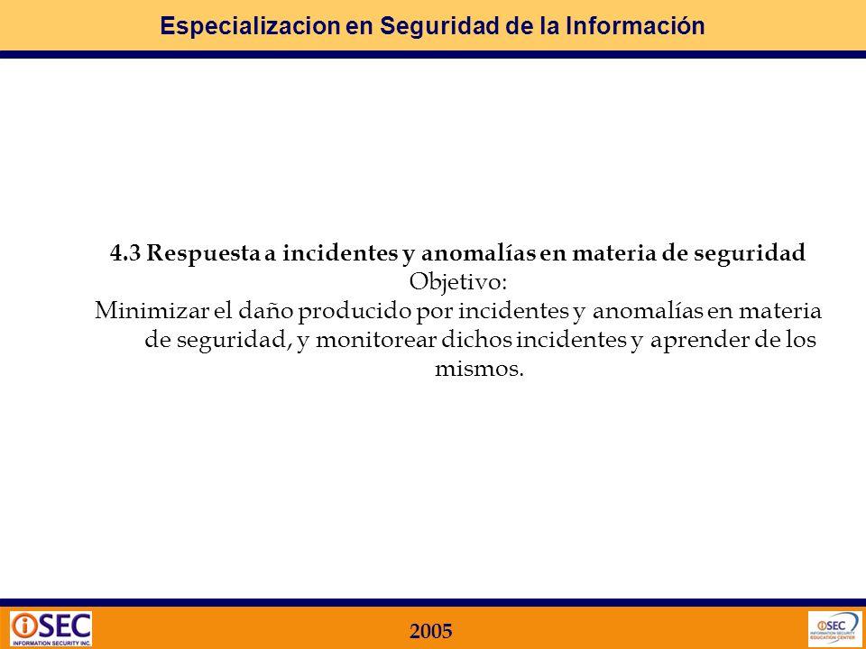 4.3 Respuesta a incidentes y anomalías en materia de seguridad