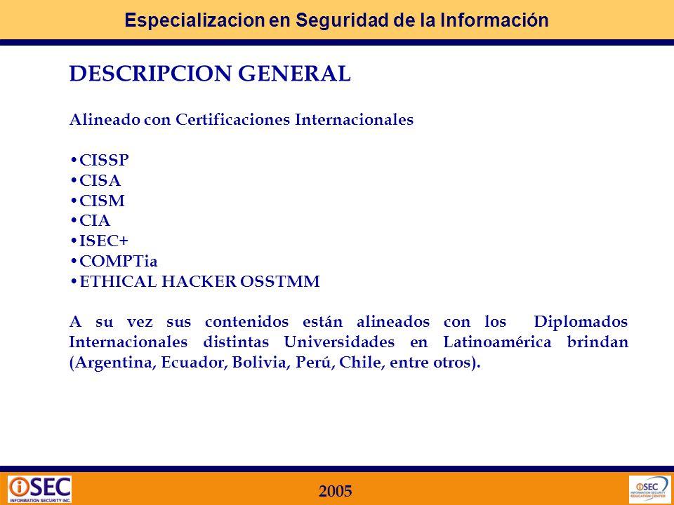 DESCRIPCION GENERAL Alineado con Certificaciones Internacionales CISSP