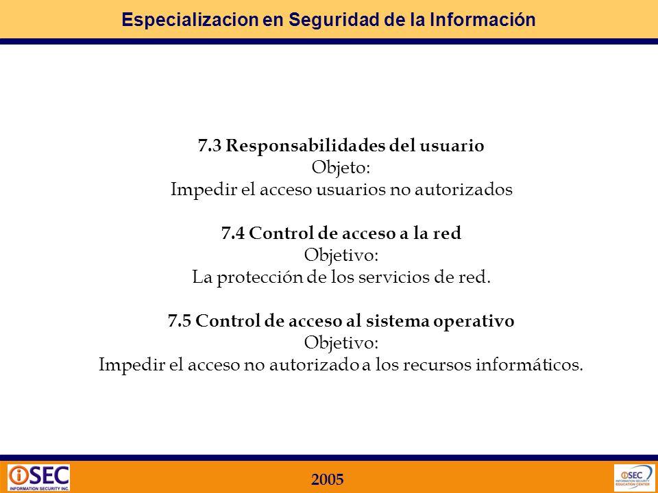 7.3 Responsabilidades del usuario Objeto: